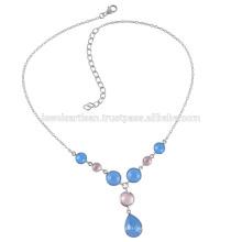 Оникс и розовый кварц стерлингового серебра ожерелье