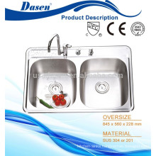 High end double bowl flush mount twin bowl washign trough sink with 4 faucet hole