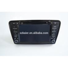 Quad GPS voiture de navigation avec caméra de recul sans fil, wifi, BT, MIROIR-CAST, AIRPLAY, DVRDual Zone, SWC pour skoda octavia 2014