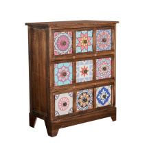 rustic stand wooden storage cabinet with 3 drawers