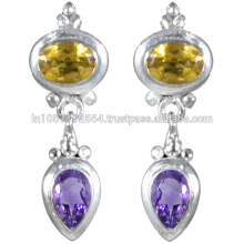 Amethyst & Citrine Gemstone with Sterling Silver in Antique Design Earrings