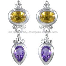 Amethyst & Citrine Gemstone com prata esterlina em Antique Design Earrings