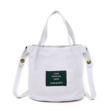 Promotional Custom Printed LOGO art versatile canvas letters labeled shoulder canvas bag mini messenger bag