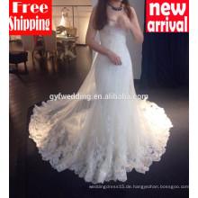 2016 hochwertige Maxi Kleider für Braut süße Herz Ausschnitt Meerjungfrau Spitze lange Zug sexy Meerjungfrau Brautkleider 15002