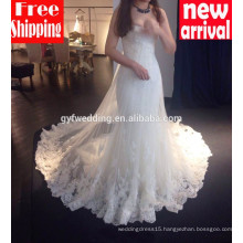 2016 High Quality Maxi Gowns for Bride Sweet Heart Neckline Mermaid Lace Long Train Sexy Mermaid Wedding Dresses 15002