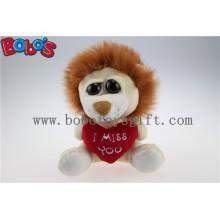Kleine Größe Gefüllte Löwen Tier mit großen Augen und Herz Kissen