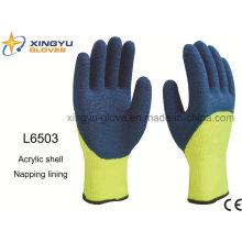 Acrylic Shell Napping forro Latex 3/4 recubierto acabado arrugado guante de trabajo de seguridad (L6503)