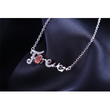 """DIY Letter""""Forever """" 18 inch link chain rhodium plated charm necklace"""