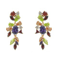 Pendientes multicolores de plata esterlina 925 CZ