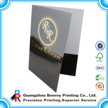 Impressão offset a5 apresentação em relevo folha de documento pasta
