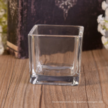 Square Glass Candle Jar with Metal Lid and Scented Candle