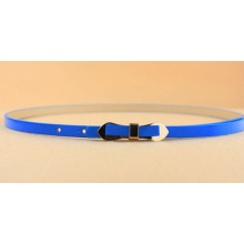 Fashion Woman waist PU thin belt with bow buckle