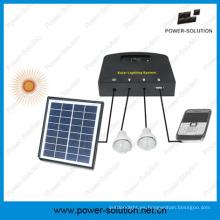 Sistema solar con 2 bombillas y cargador de teléfono móvil y panel solar de 4W y bombilla solar de 2W para interior