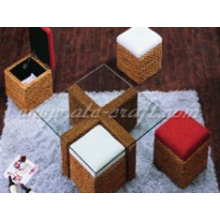 Space-saving Design Water Hyacinth Coffee Bar Set Wooden Frame For Indoor Use