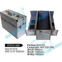Stylish carrying aluminum cosmetic case with developable lid