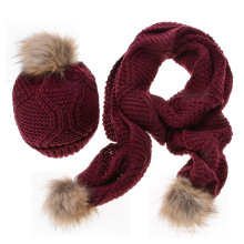 2017 Winter warm stocked overcrochet patterns wool beanie knitted hat and scarf set with fur poms for women girls