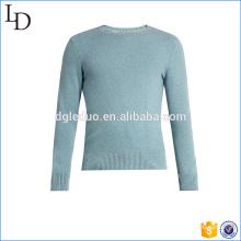 Jersey de cachemira azul claro cuello redondo personalizado para hombre suéter