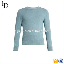 Crew neck light blue cashmere sweater custom for men sweater