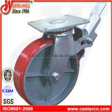 8 pulgadas PU Scaffold rueda con placa superior