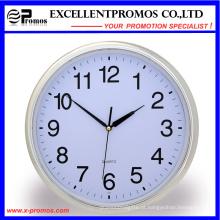 Silver Frame Logo impressão rodada relógio de parede de plástico (item21)