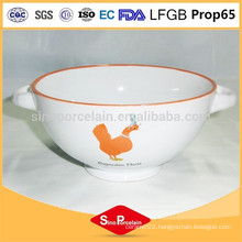 News ceramic bowl in chicken design with two handles for BS120808A