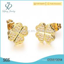 Dubai 18k gold crystal stud earrings,copper plating flower earrings jewelry