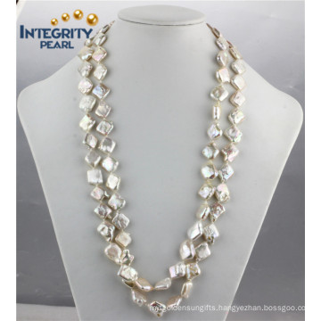 Freshwater Fashion Pearl Necklace Suqare Coin 12mm Pearl Necklace