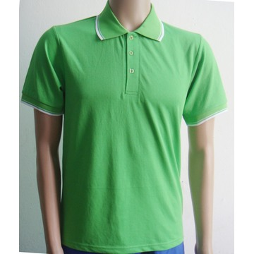 Contrast color ribbon sleeves men Polo shirt