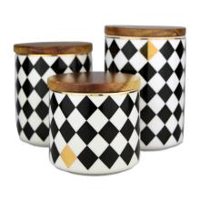 Rhombus Lattice Ceramic Jar Soy Wax Aroma Candles