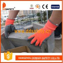 Neon Orange Nylon Grey Latex Gloves with Crinkle Finished Dnl419