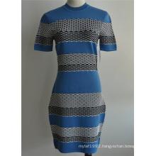 Viscose Nylon Close-Fitting Sweater Dress for Ladies
