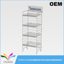 Sturdy Stackable Black 5 Tiers Cosmetic Metal Floor Display Stand for Consumer Goods