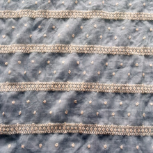 Tela del bordado del hilo de algodón del círculo en la tierra de T / C