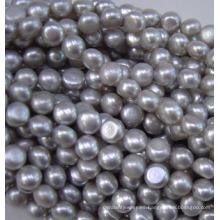 Redonda, perla del botón plano perla perla, agua dulce (BU10)