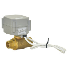 CE 1/2 '' Macho Rosca Válvula de Latão Motorizada Válvula de Esfera de Água de Fluxo Elétrico (T15-B2-A)