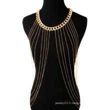 Collier en chaîne en métal de style nouveau style bikini sexy en or