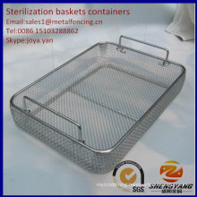 Handle supported large size medical containers SS mesh disinfecting containers surgical tools sterilization baskets containers
