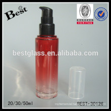20/30/ 50ml red glass pump lotion bottle with clear cap, cosmetic packaging bottles, skin care cosmetic glass bottle supplier