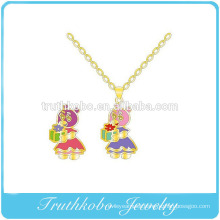 Colorful Enamel High Qaulity Lovely Boys and Girls Characters Stainless Steel Pendant necklace jewelry design for child