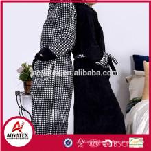 Houndstooth printed coral fleece long style zipper reversible bathrobe