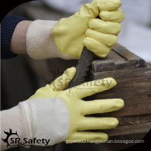 SRSAFETY interlock half coated yellow nitrile hand work glove