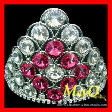 Nette kleine Hochzeits-Tiara, volle Kristallschmucksache-Tiara, Brautkrone mit rosafarbenem Kristall