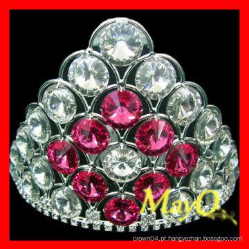 Tiara pequena bonito do casamento, tiara cheia da jóia do cristal, coroa nupcial com cristal cor-de-rosa