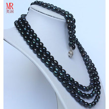 Moda Black Natural Pearl Neckace Bracelet Sets (ES1317)