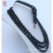 Art und Weiseschwarzes natürliches Perlen-Neckace Armband-Sätze (ES1317)