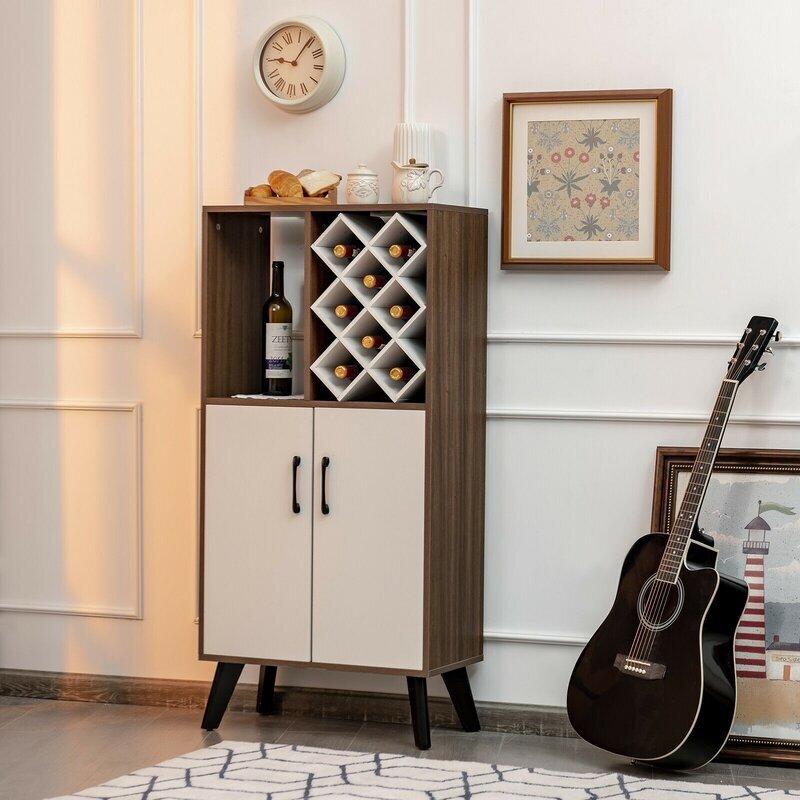 Bar Cabinet Wooden Buffet Sideboard Storage Cupboard With Wine Rack 2
