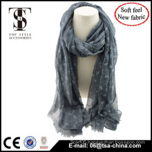 Blended material high quality animal print soft feel spring scarf with flocking