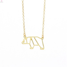 Hollow Out Cute Delicate Bear Animal Panda Pendant Necklace