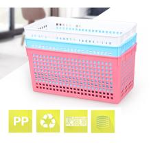 Cesta plástica rectangular de tamaño pequeño y multipropósito ecológica para artículos diversos