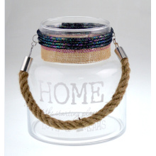Glass Lantern with Jute Rope Handle